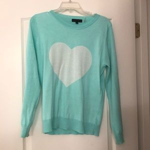 Teal sweater with heart design